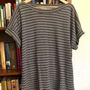 Talbots black/white stripe top with cuff sleeves